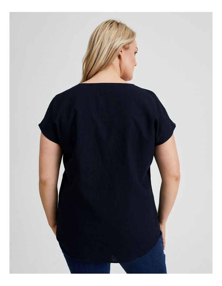 Extended Short Sleeve Front Pleat Linen Blend Top image 3