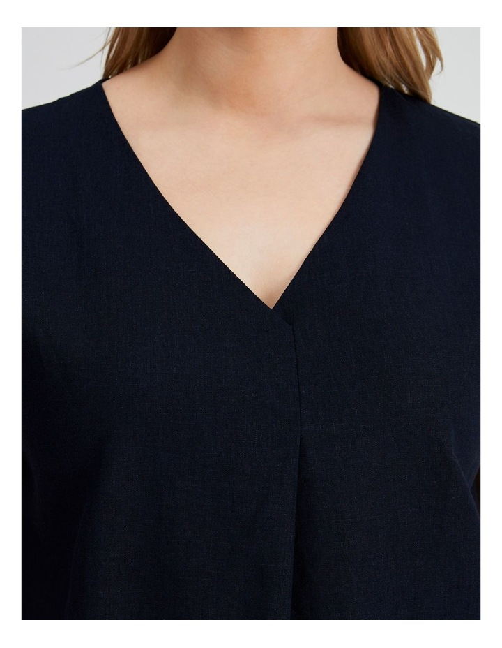 Extended Short Sleeve Front Pleat Linen Blend Top image 5