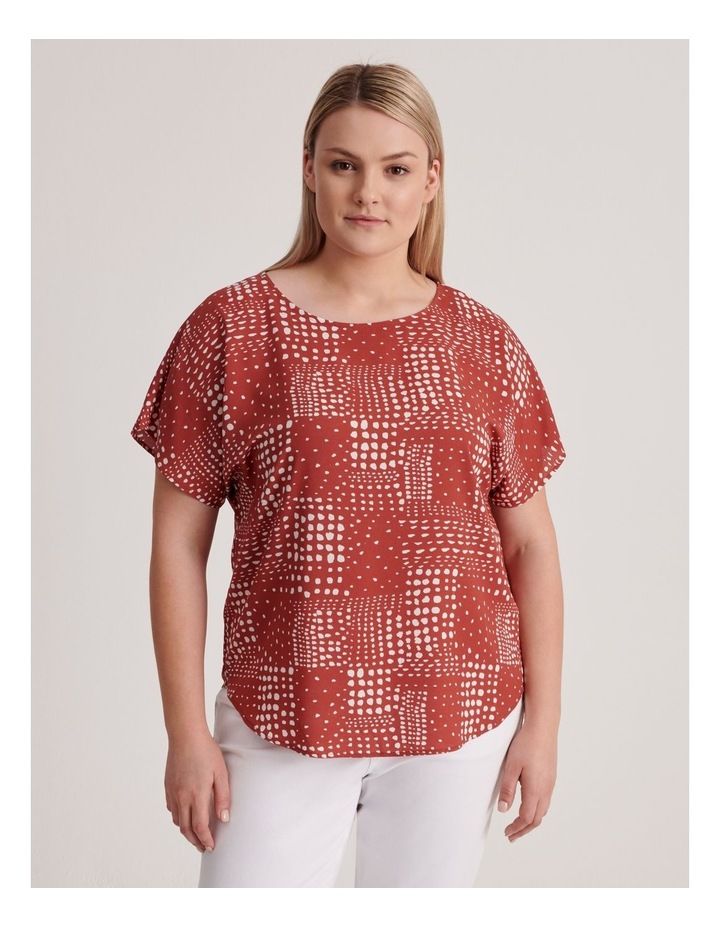 Short Sleeve Top in Syrah Abstract Spot Print image 1
