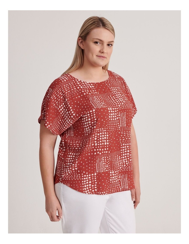 Short Sleeve Top in Syrah Abstract Spot Print image 2