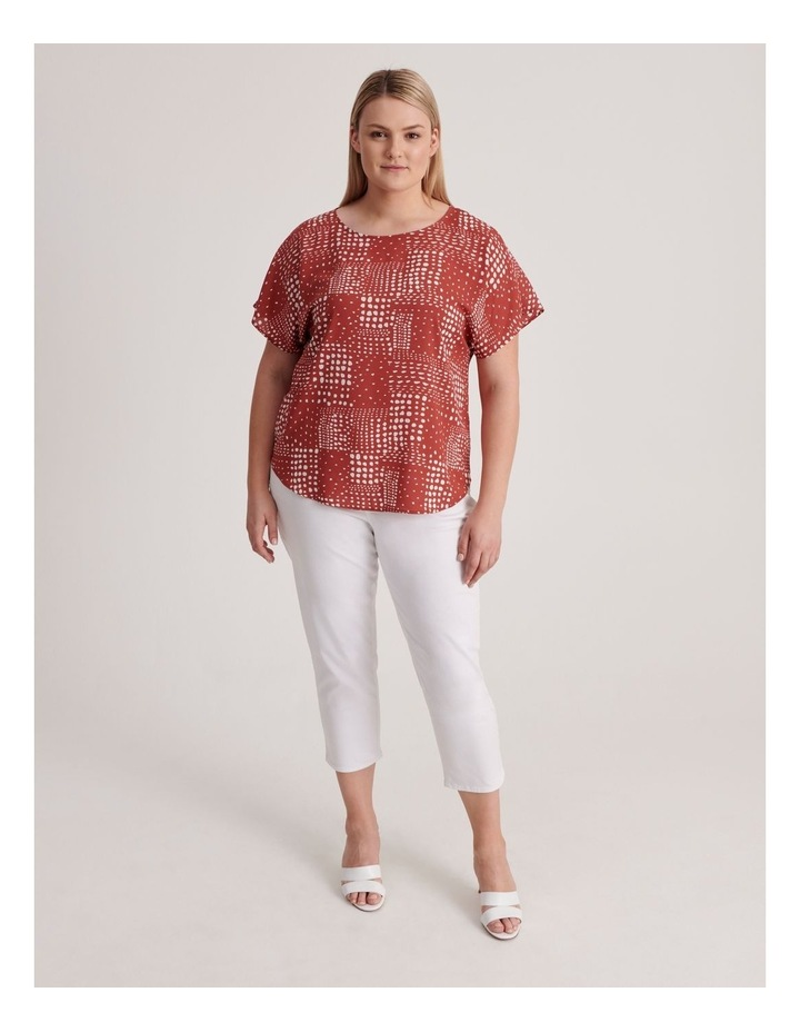 Short Sleeve Top in Syrah Abstract Spot Print image 4