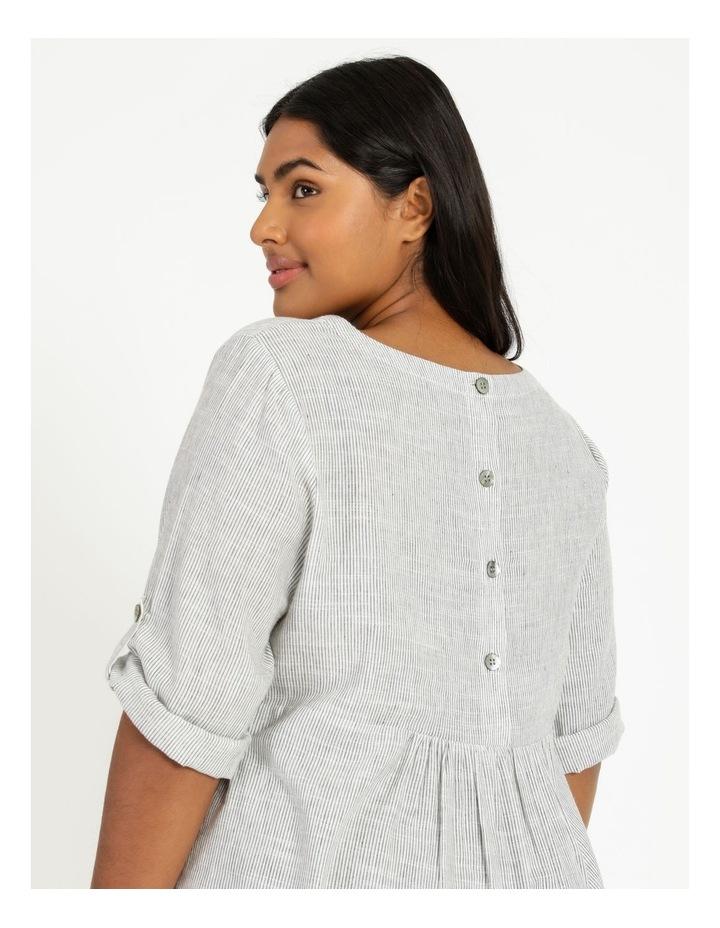 Stripe Rolled Sleeve Top Grey/Ivory image 2