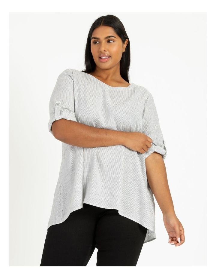 Stripe Rolled Sleeve Top Grey/Ivory image 3