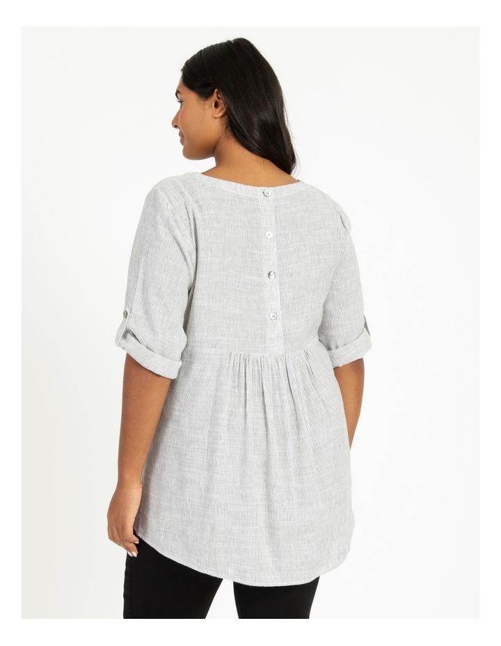 Stripe Rolled Sleeve Top Grey/Ivory image 4
