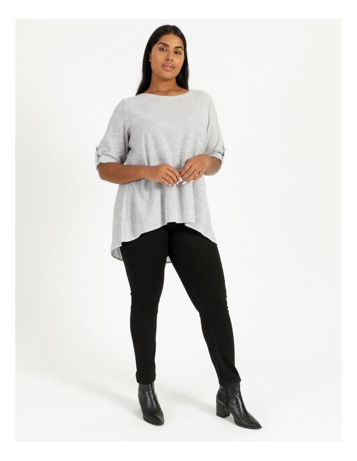 Stripe Rolled Sleeve Top Grey/Ivory image 5