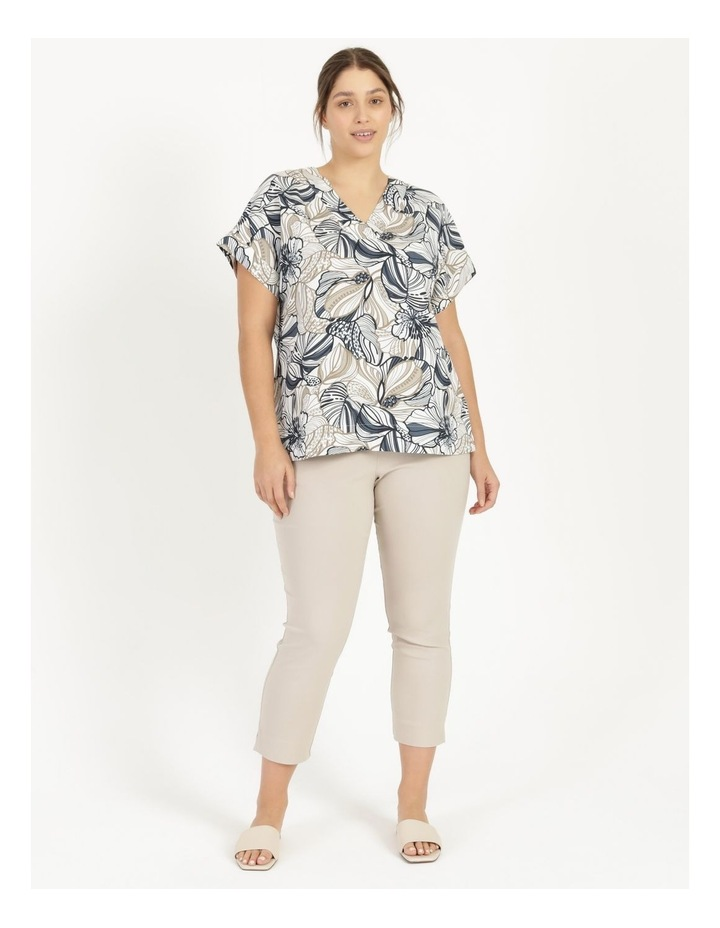 Extended Short Sleeve Linen Blend Top With Cuff & Button Navy/Neutral Floral image 2