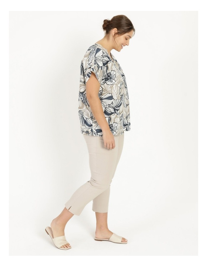 Extended Short Sleeve Linen Blend Top With Cuff & Button Navy/Neutral Floral image 3