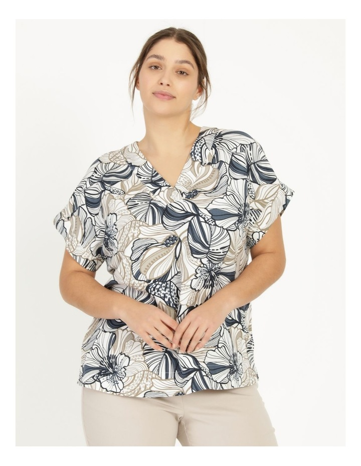 Extended Short Sleeve Linen Blend Top With Cuff & Button Navy/Neutral Floral image 4