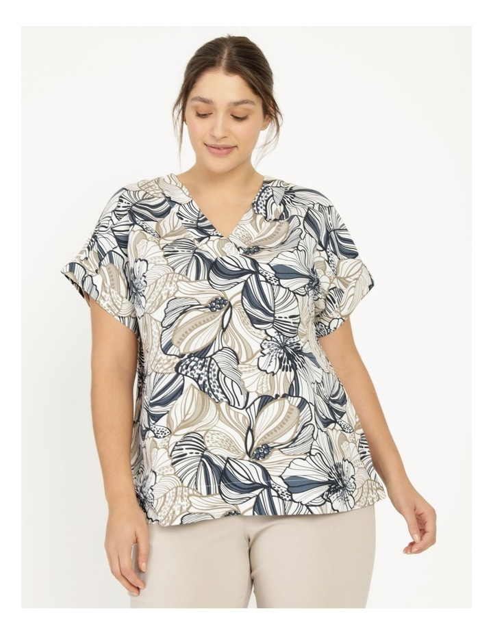 Extended Short Sleeve Linen Blend Top With Cuff & Button Navy/Neutral Floral image 5