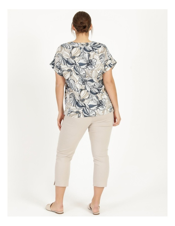 Extended Short Sleeve Linen Blend Top With Cuff & Button Navy/Neutral Floral image 6