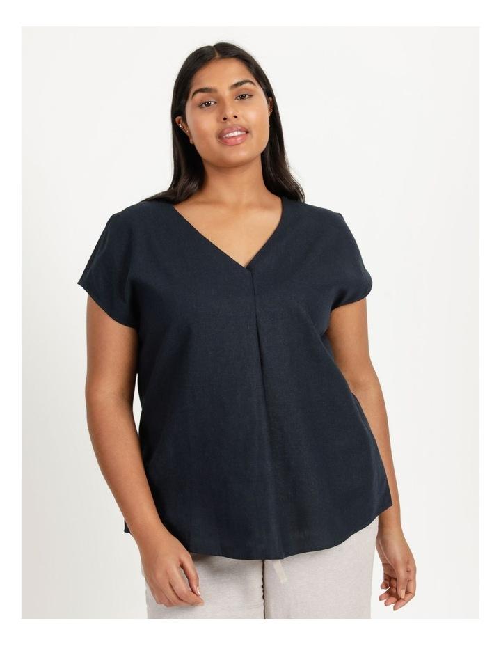 Extended Short Sleeve Linen Blend Woven V Neck Pleat Front Top Navy image 2