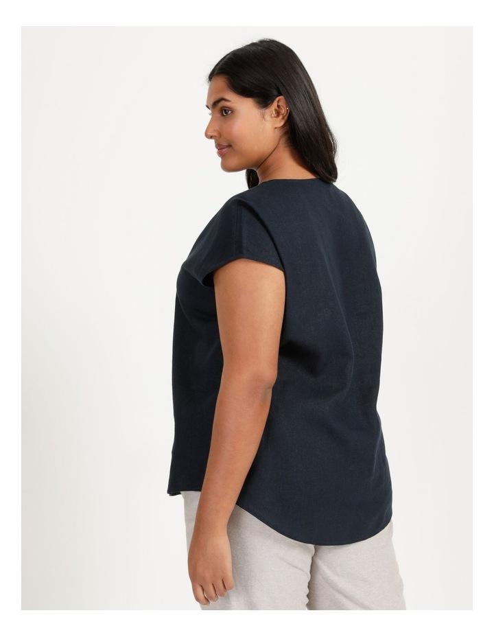 Extended Short Sleeve Linen Blend Woven V Neck Pleat Front Top Navy image 4