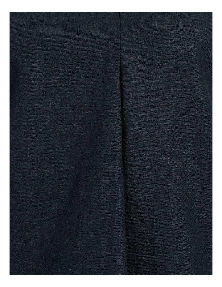 Extended Short Sleeve Linen Blend Woven V Neck Pleat Front Top Navy image 7