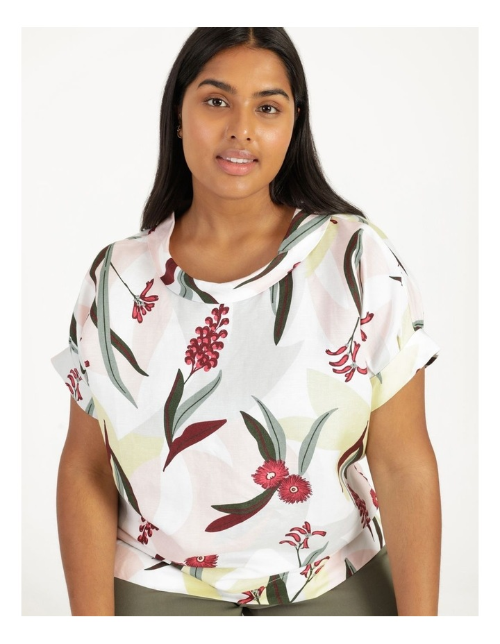 Tuck Cuff Magyar Short Sleeve Cowl Neck Top Pink Grey Floral image 1