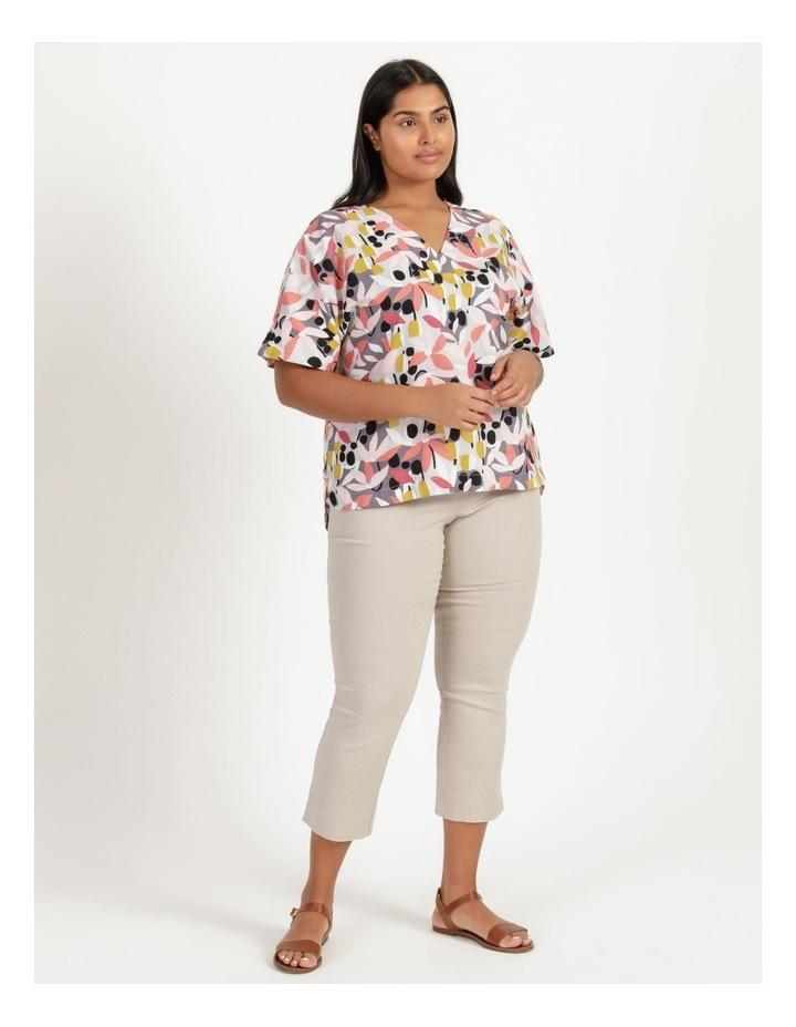 Extended Short Sleeve Curved Hem Top Pink/Black Floral Print image 1
