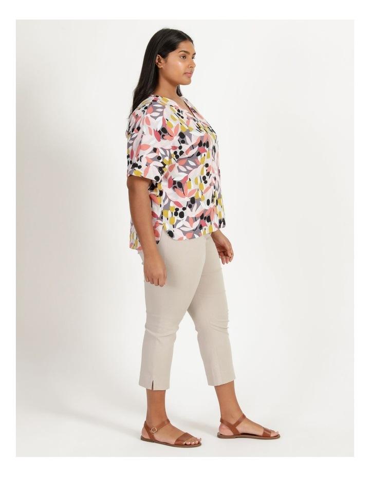 Extended Short Sleeve Curved Hem Top Pink/Black Floral Print image 3