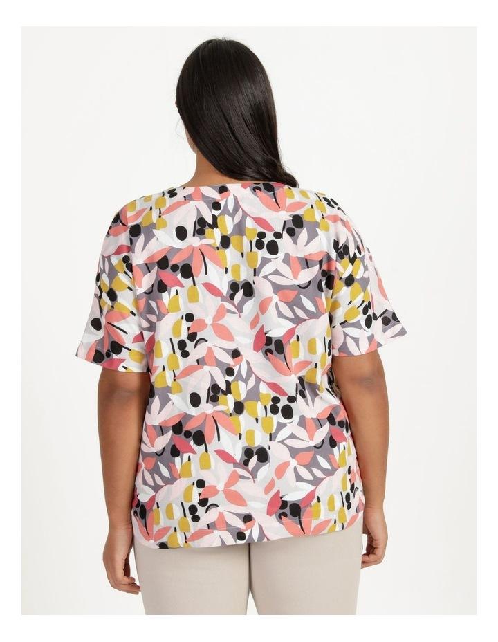 Extended Short Sleeve Curved Hem Top Pink/Black Floral Print image 4