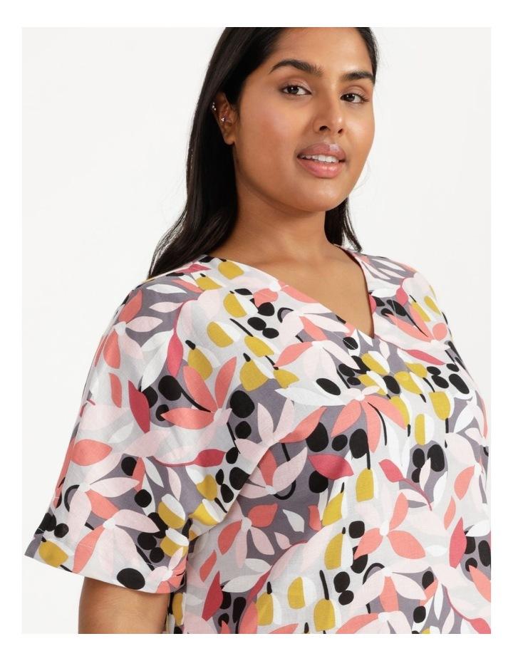 Extended Short Sleeve Curved Hem Top Pink/Black Floral Print image 6