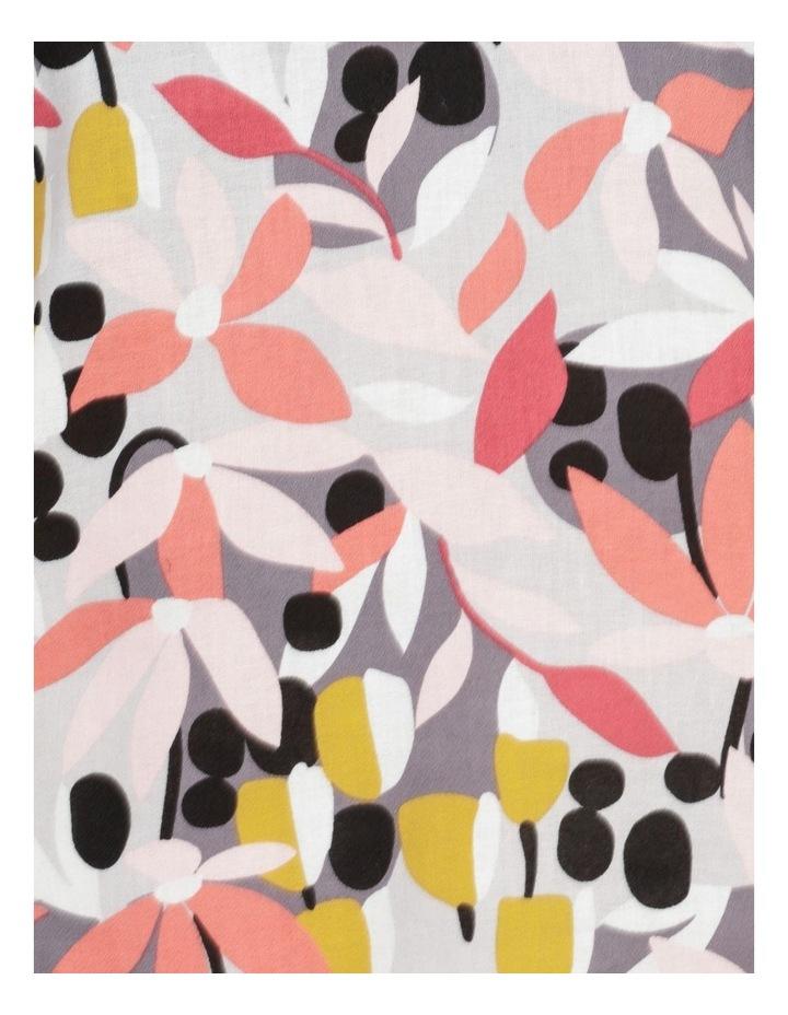 Extended Short Sleeve Curved Hem Top Pink/Black Floral Print image 7
