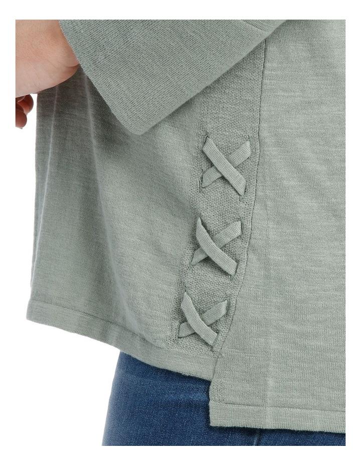 Lace Up Side Slub 3/4 Slv Jumper-Soft Khaki image 4