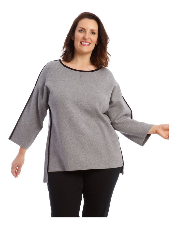 Contrast Trim 3/4 Sleeve Jumper With Step Hem image 1