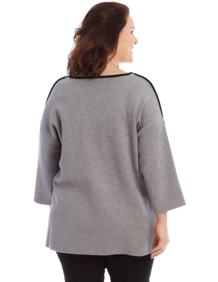 Contrast Trim 3/4 Sleeve Jumper With Step Hem image 3