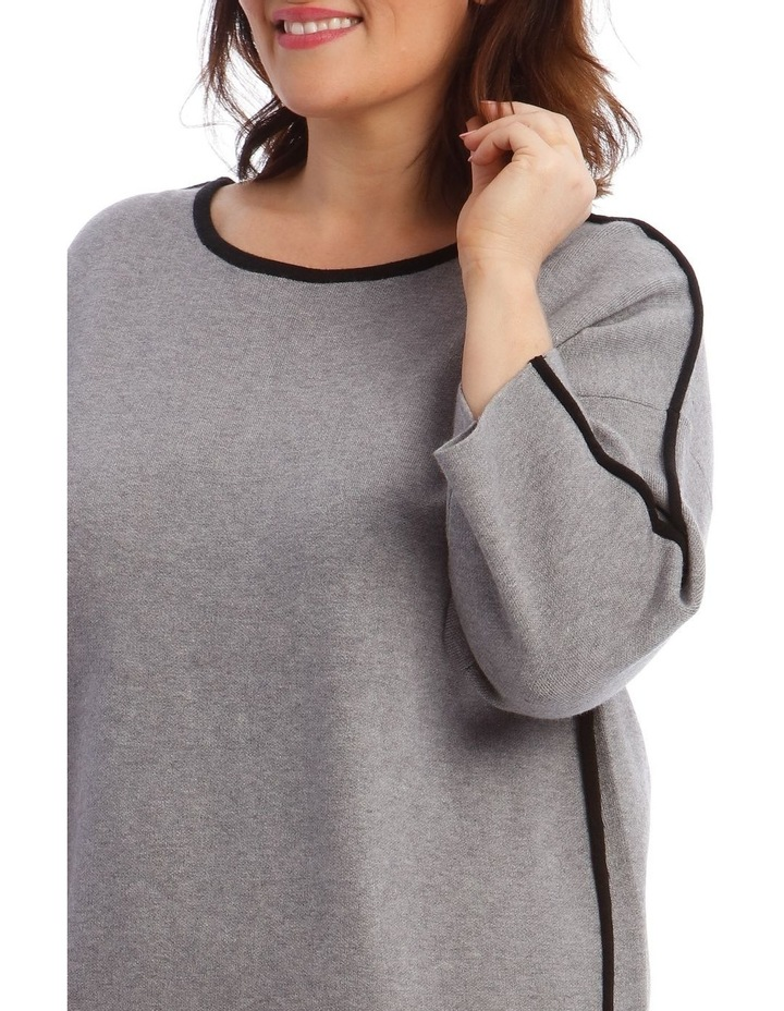 Contrast Trim 3/4 Sleeve Jumper With Step Hem image 4