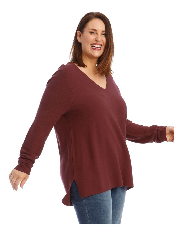 V-Neck Long Sleeve Step Hem Jumper image 2