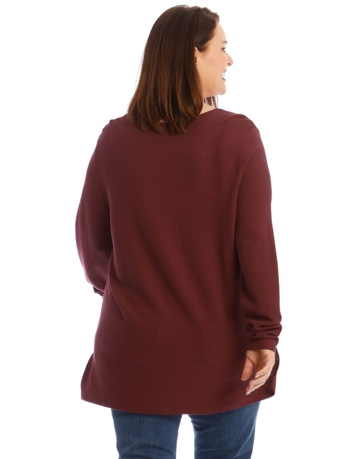 V-Neck Long Sleeve Step Hem Jumper image 3