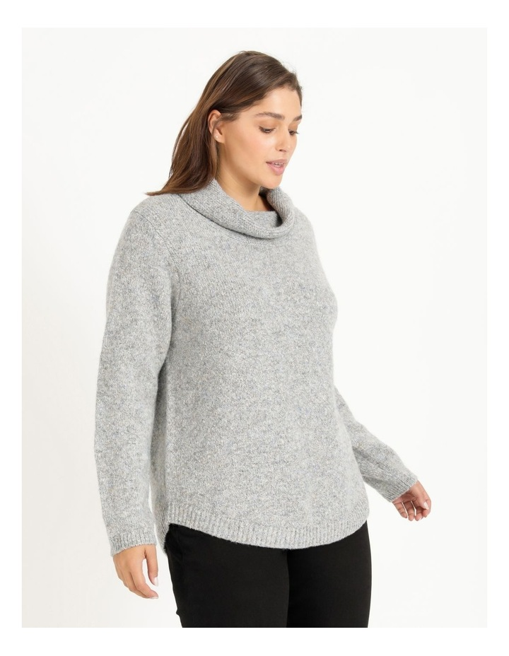 Cowl Neck Long Sleeve Jumper With Curved Hem image 3