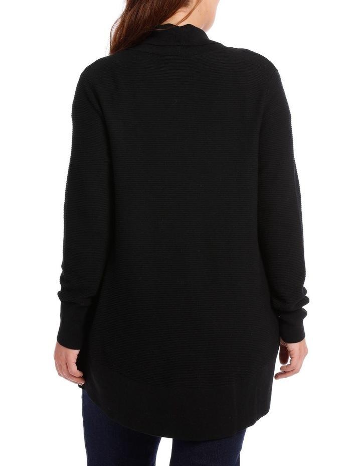 Curved Hem L/S Textured Rib Cardigan-Black image 3