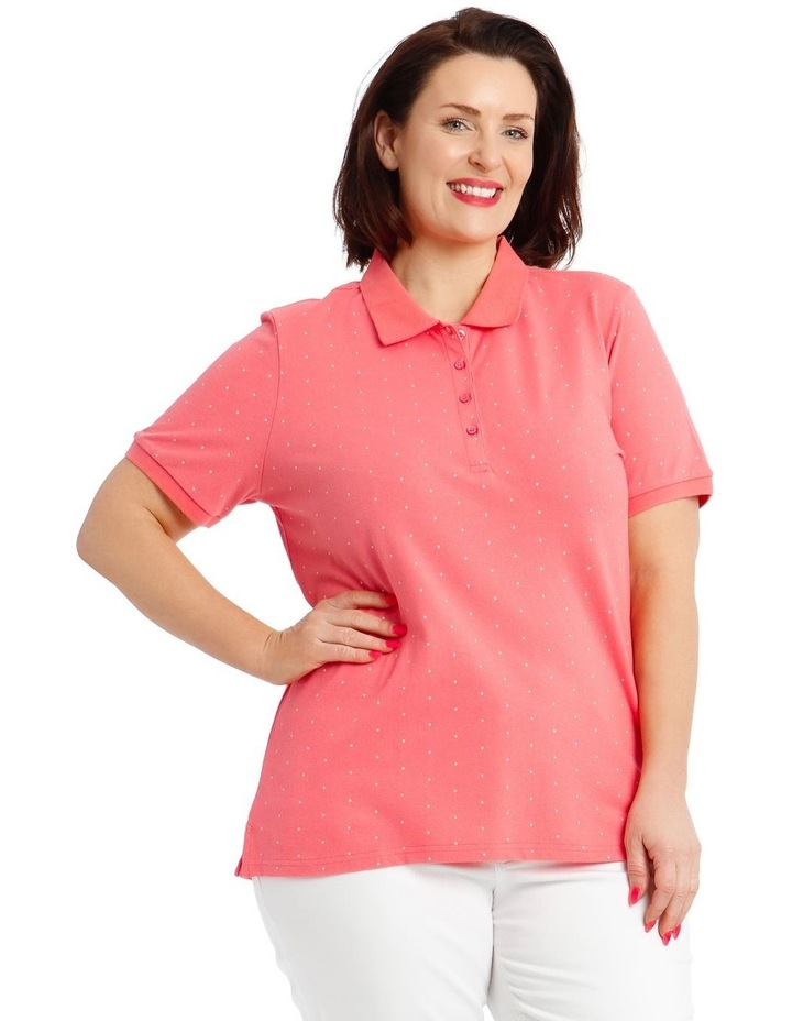 Pink With White Spot Short Sleeve Polo image 1