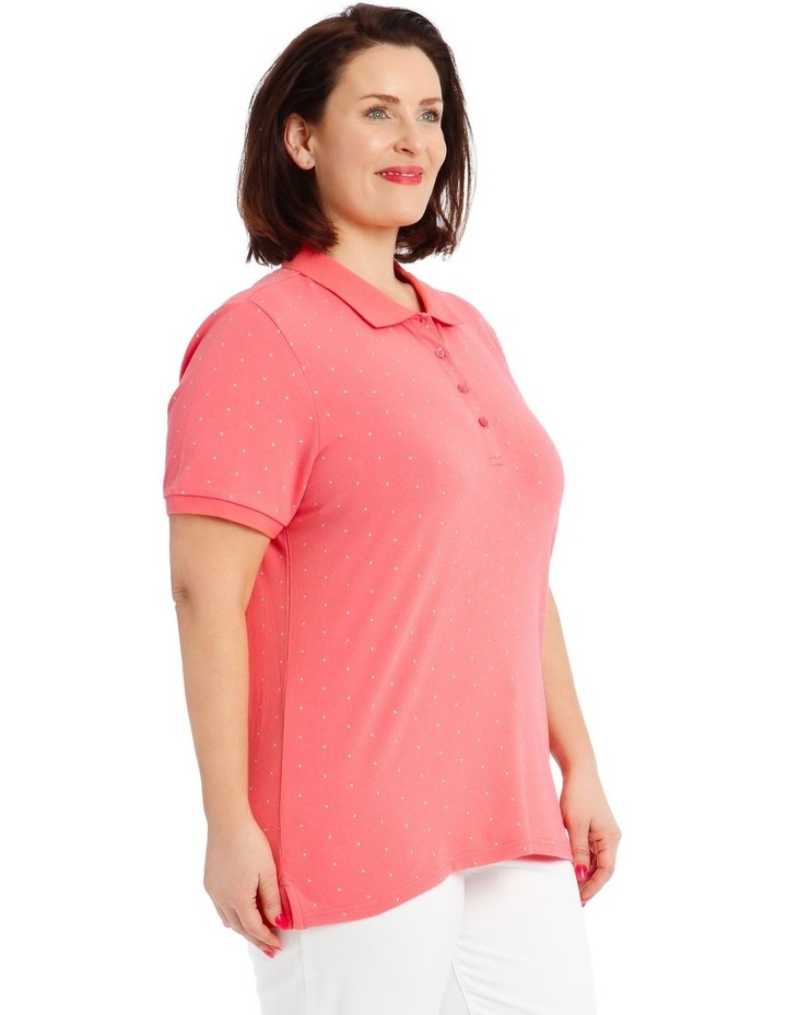 Pink With White Spot Short Sleeve Polo image 2