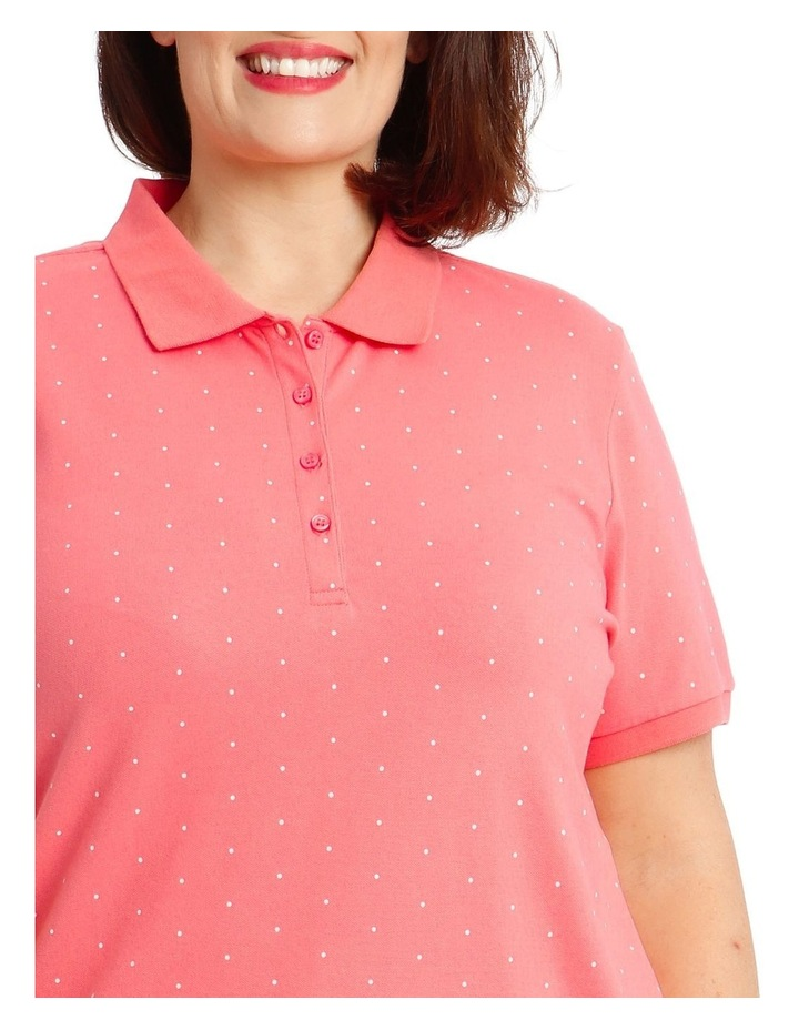 Pink With White Spot Short Sleeve Polo image 4
