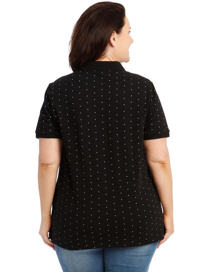 Black With White Spot Short Sleeve Polo image 3