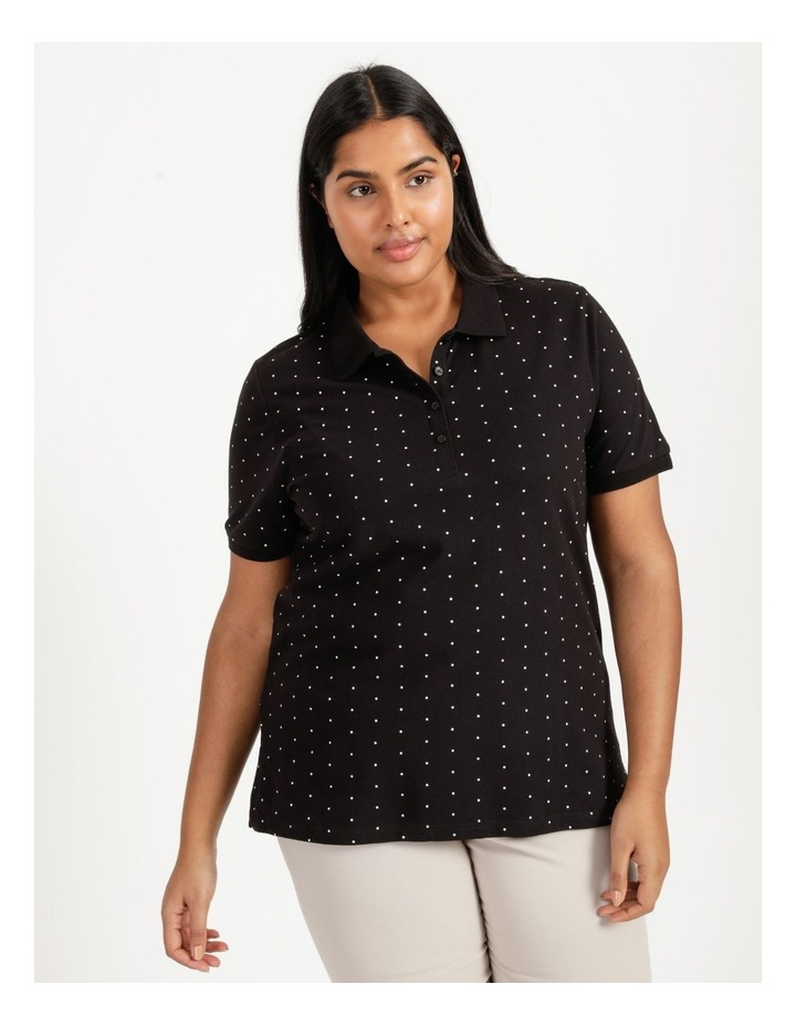 Core Short Sleeve Polo Black With White Spots image 2