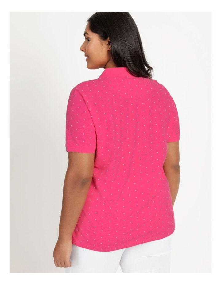Core Short Sleeve Polo Hot Pink/White Spot image 5