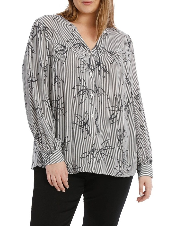 Frill Neck Long Sleeve Shirt With Yoke image 1