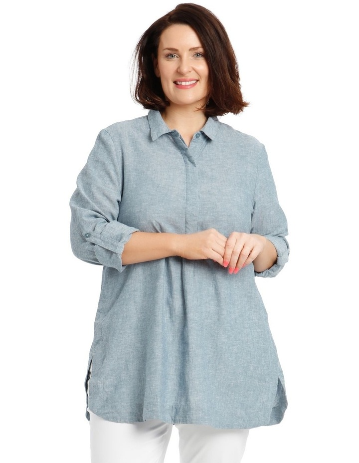 Long-Sleeve Shirt with Half Placket image 1