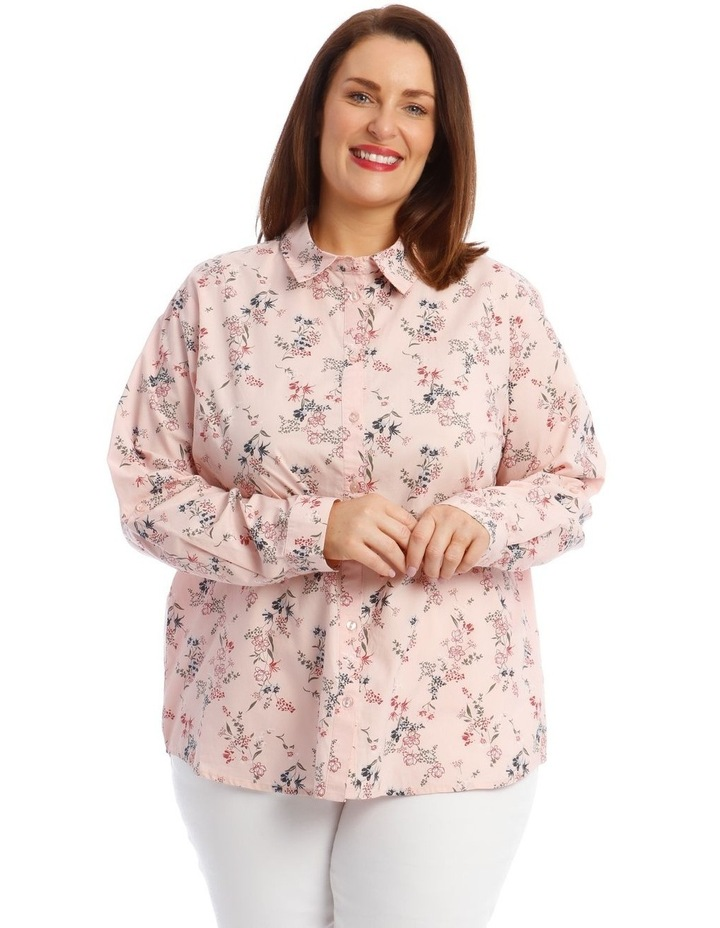Button-Down Shirt with Rolled Cuffs in Light Pink image 1