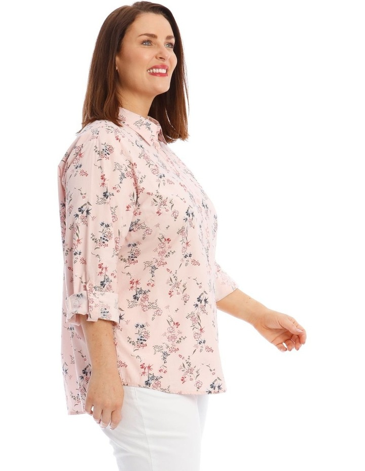Button-Down Shirt with Rolled Cuffs in Light Pink image 2