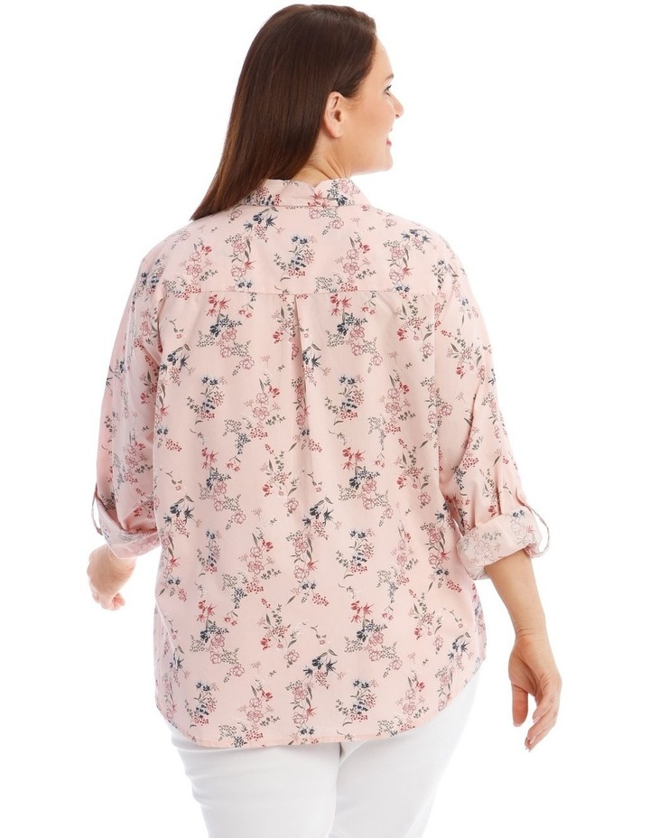 Button-Down Shirt with Rolled Cuffs in Light Pink image 3