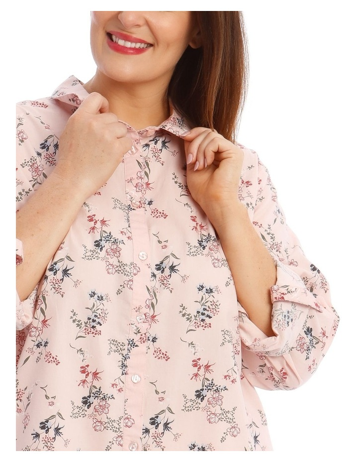 Button-Down Shirt with Rolled Cuffs in Light Pink image 4