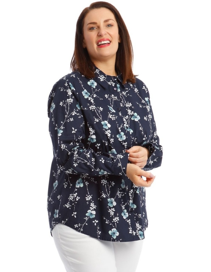 Button-Down Shirt with Rolled Cuffs in Navy image 1