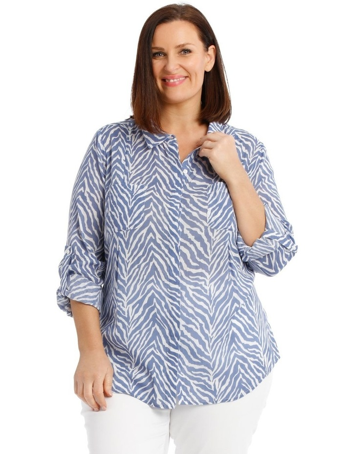 Front Tuck Long Sleeve Shirt With Rolled Sleeve image 1
