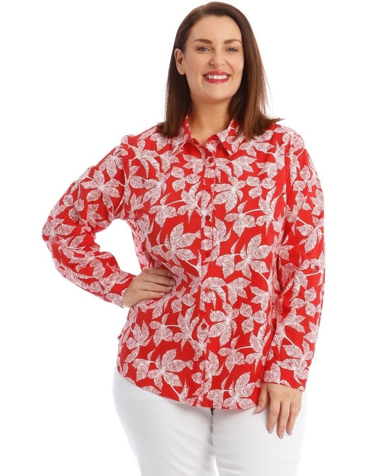 Button-Down Shirt with Rolled Cuffs in Coral image 1