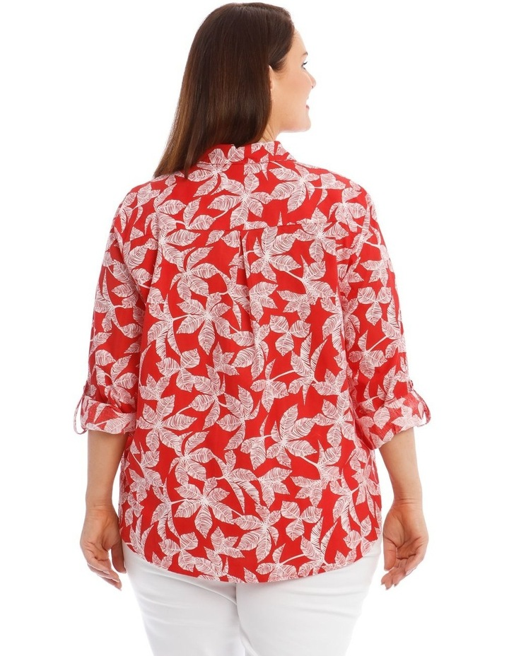 Button-Down Shirt with Rolled Cuffs in Coral image 3