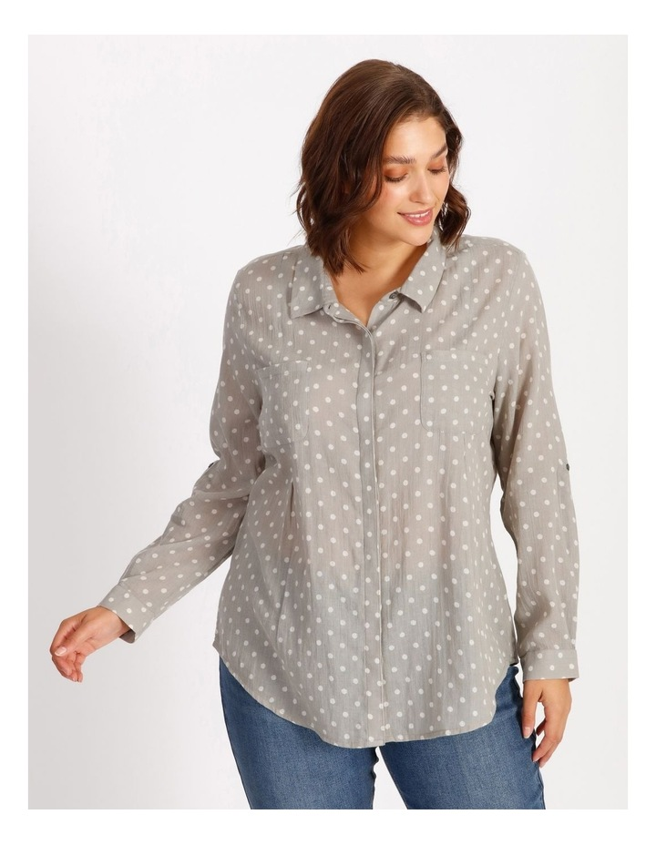 Rolled Long Sleeve Shirt With Front Tucks image 1