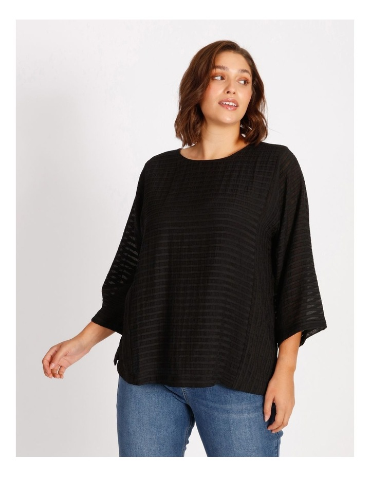 Etched Magyar 3/4 Sleeve Sheer Top With Body Lining image 1