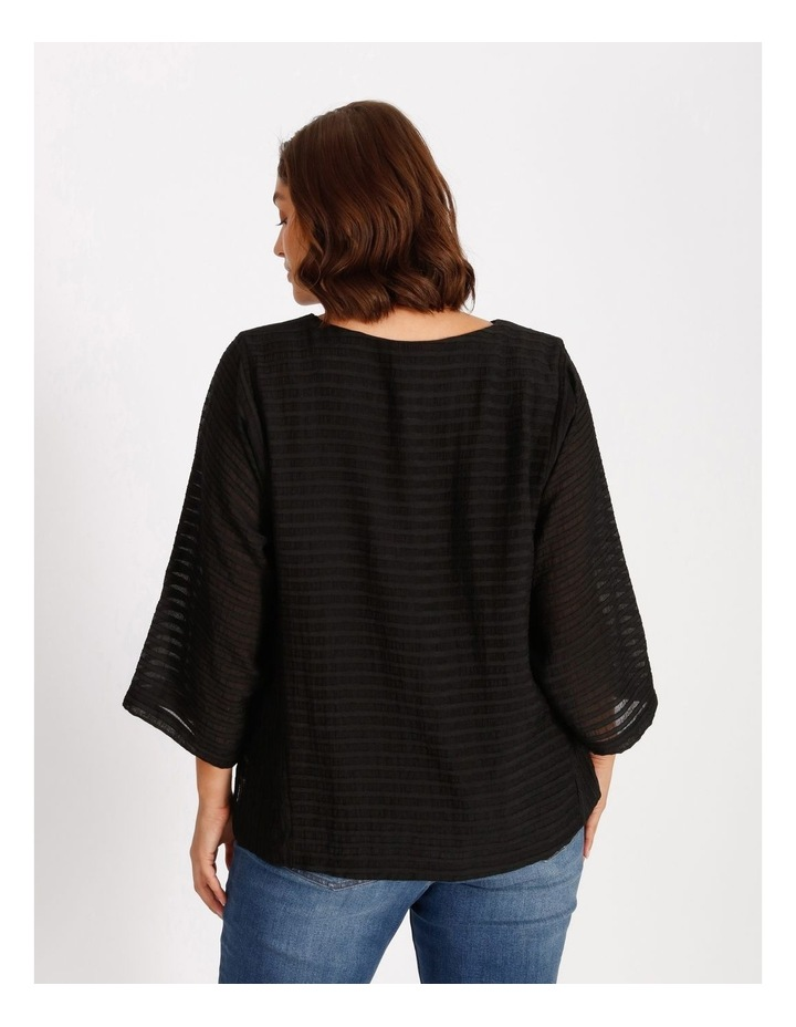 Etched Magyar 3/4 Sleeve Sheer Top With Body Lining image 3